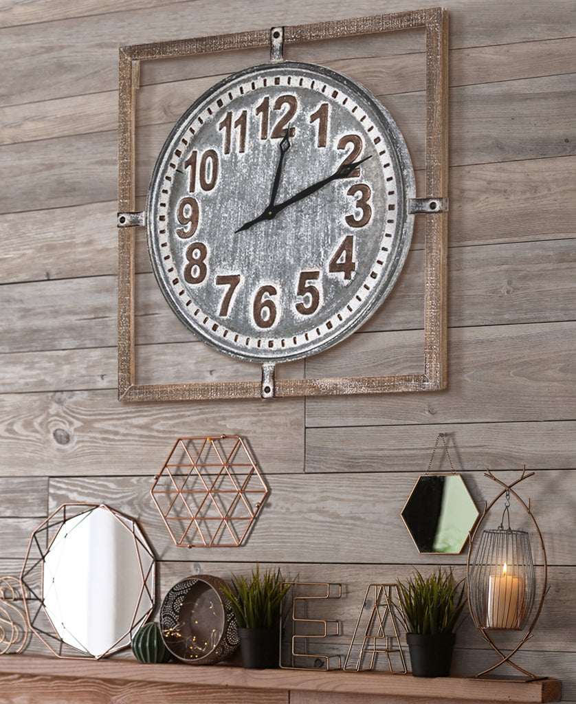 Whitewashed Rustic Wall Clock on Wall