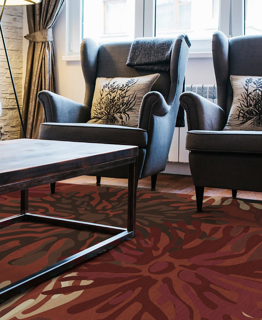 Maroon Abstract Floral Rug Under Table and Chairs