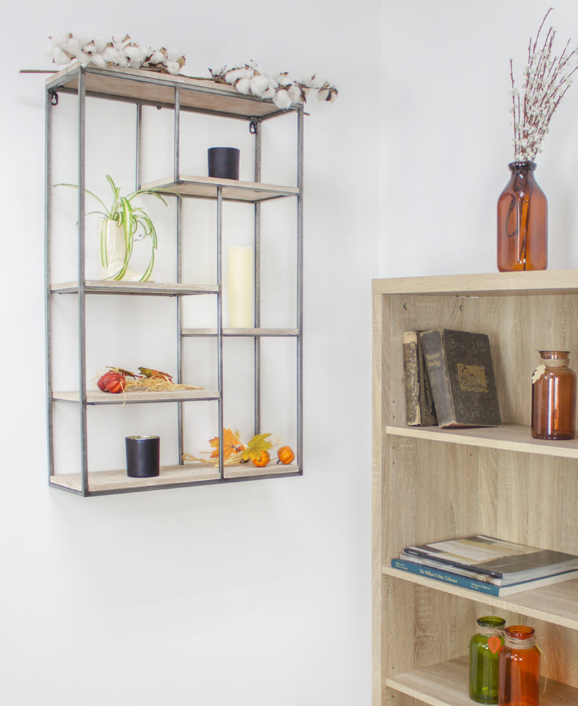 Barnwood Metal Frame Wall Shelves