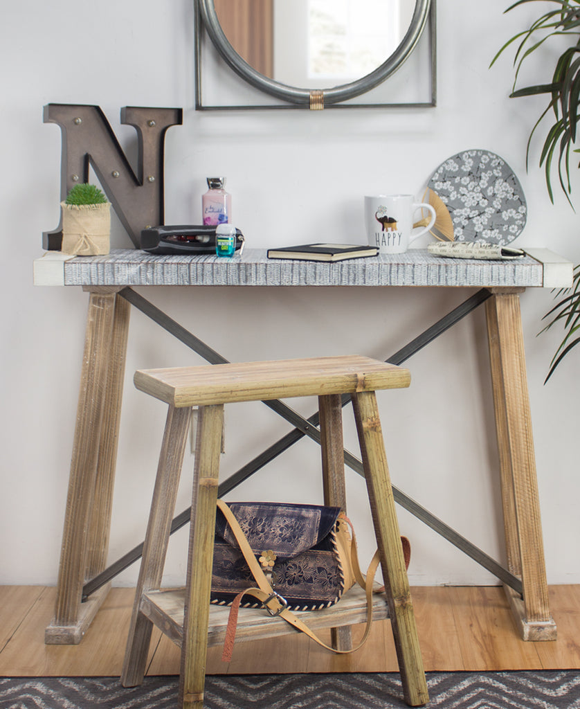 Rustic Wood Metal Workbench Table
