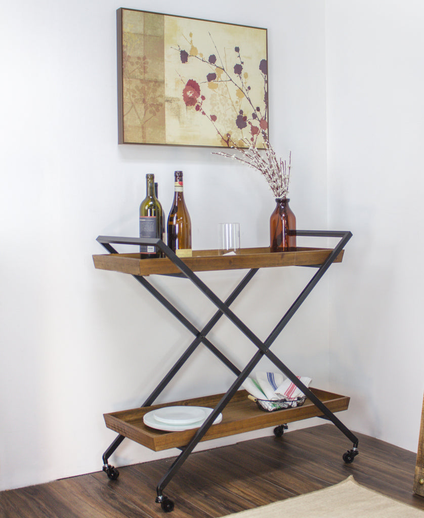 Rustic Wood and Metal Bar Cart