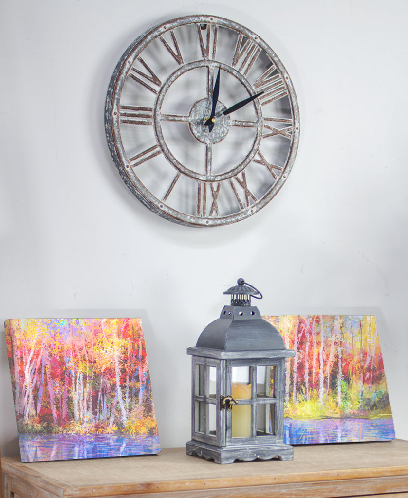 Whitewash Rustic Farmhouse Clock