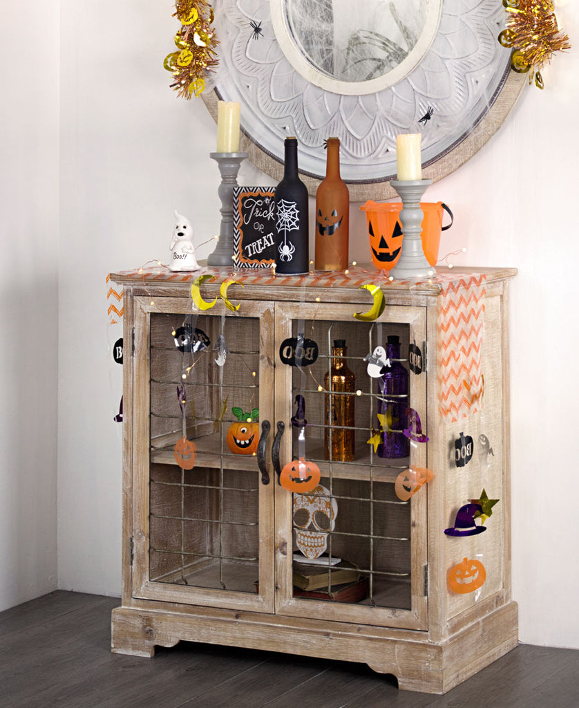 Whitewash Cabinet in Halloween Decor