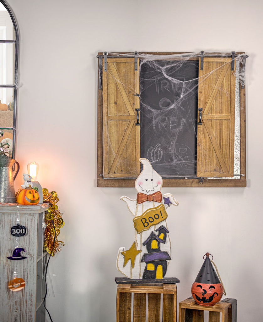 Chalkboard Shutter on Wall with Halloween Decor