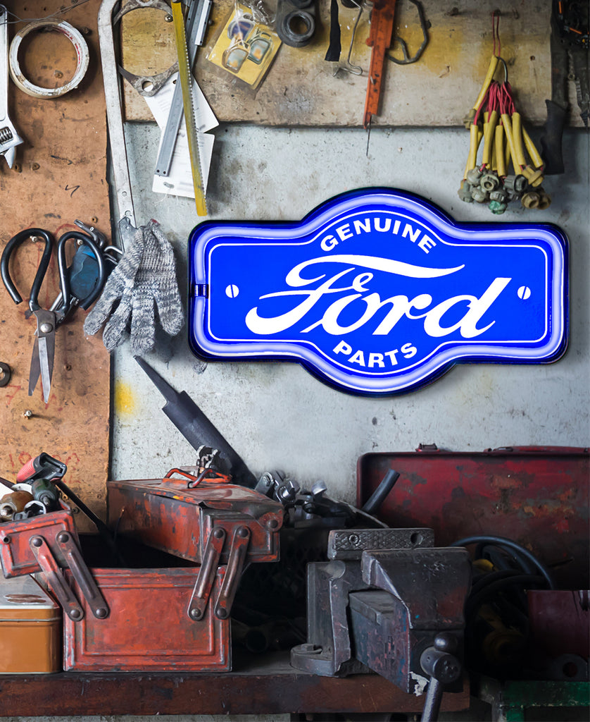 Blue Neon LED Sign Ford on Garage Wall