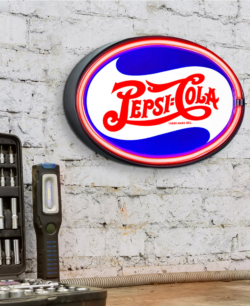 Red Pepsi Cola Neon LED Sign on Wall