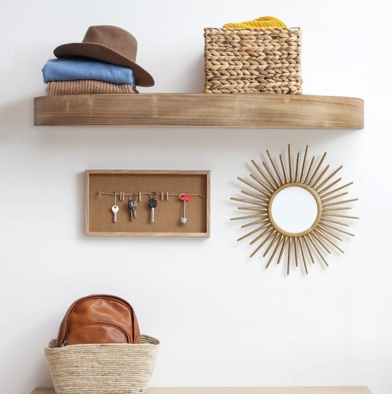 Large Round Wood Floating Wall Shelf - Brown