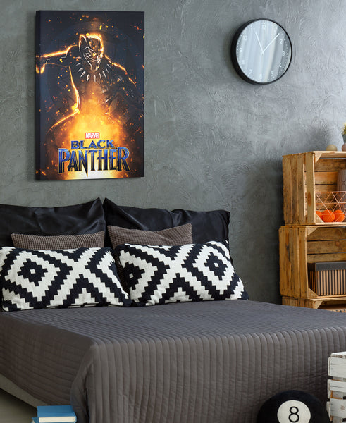 Marvel Black Panther Canvas Wrap on Bedroom Wall