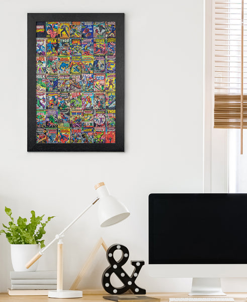 Marvel Framed Comic Book Cover Collage on Wall