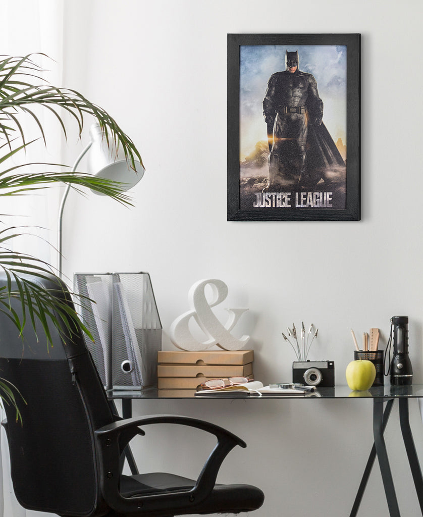 Framed Batman Print on Office Wall