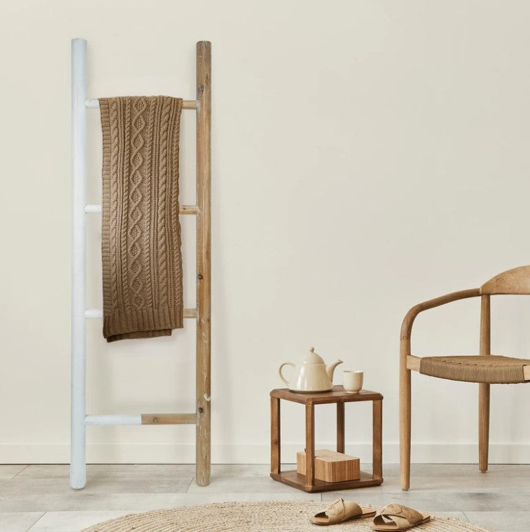 Natural & White Two-Toned Wood Decorative Ladder