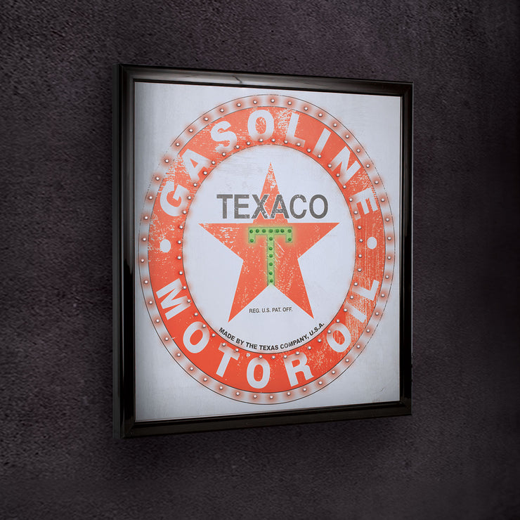 Officially Licensed Texaco Gasoline Motor Oil Framed LED Sign