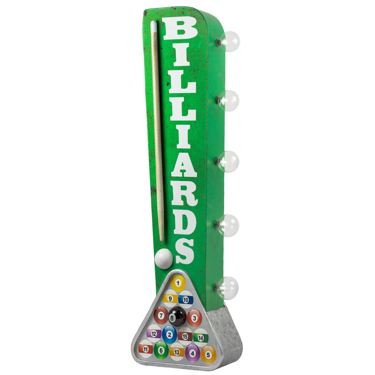 "Vintage Billiards LED Marquee Sign Wall Decor (25"" x 7"")"