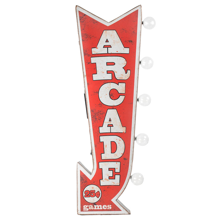 "Vintage Arcade Games LED Marquee Arrow Sign (25"" x 9"")"