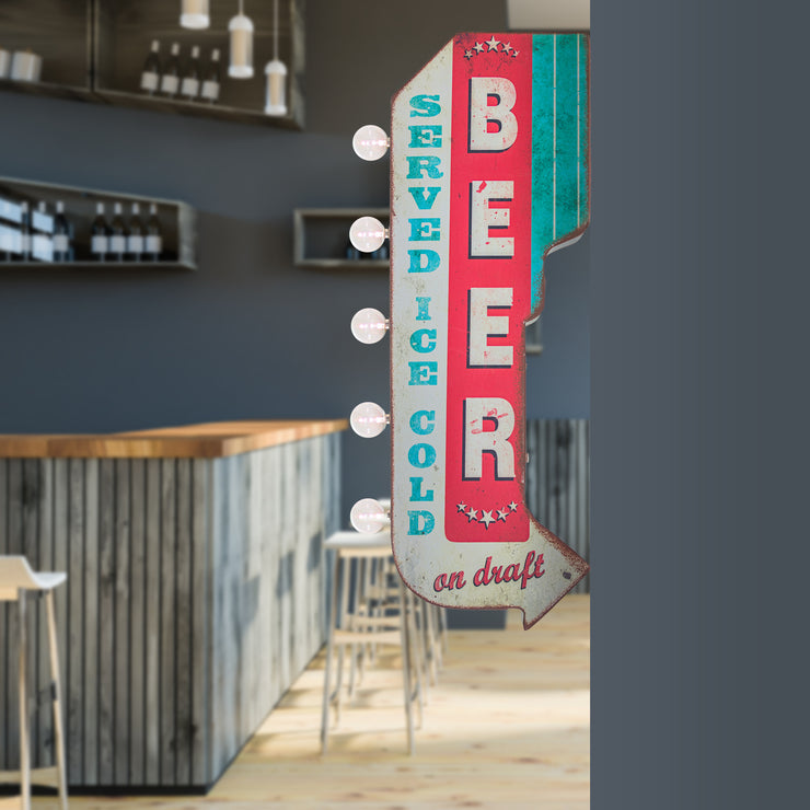 Beer Served Ice Cold on Draft Vintage LED Sign