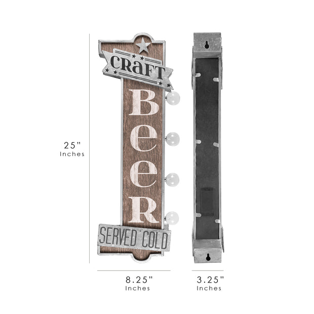 Craft Beer Served Cold Vintage LED Sign