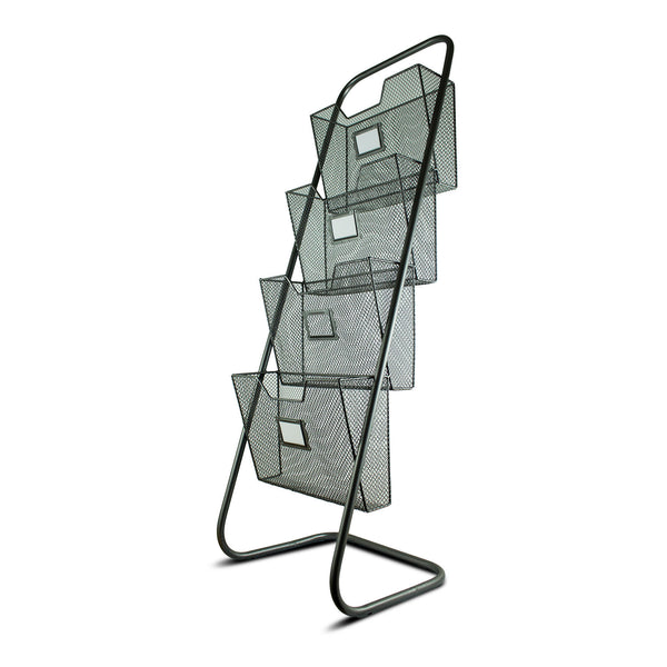 Metal Mesh Magazine Rack with 4 Baskets