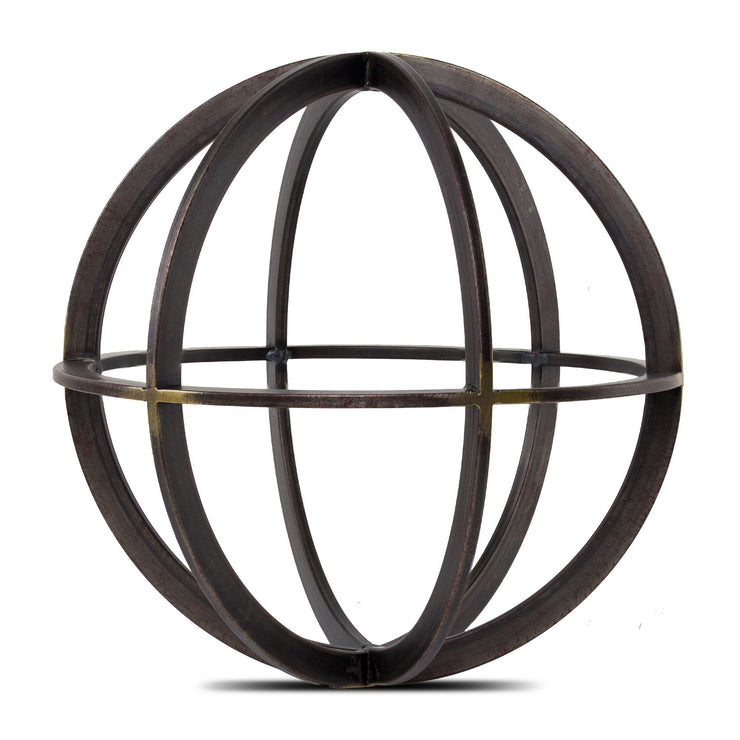 "Large Metal Orb Dyson Sphere Tabletop Sculpture (10"")"