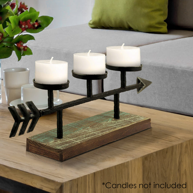 Metal Arrow 3 Candle Holder Candelabra