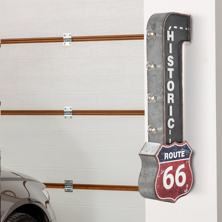 Historic Route 66 Vintage LED Marquee Sign Wall Decor
