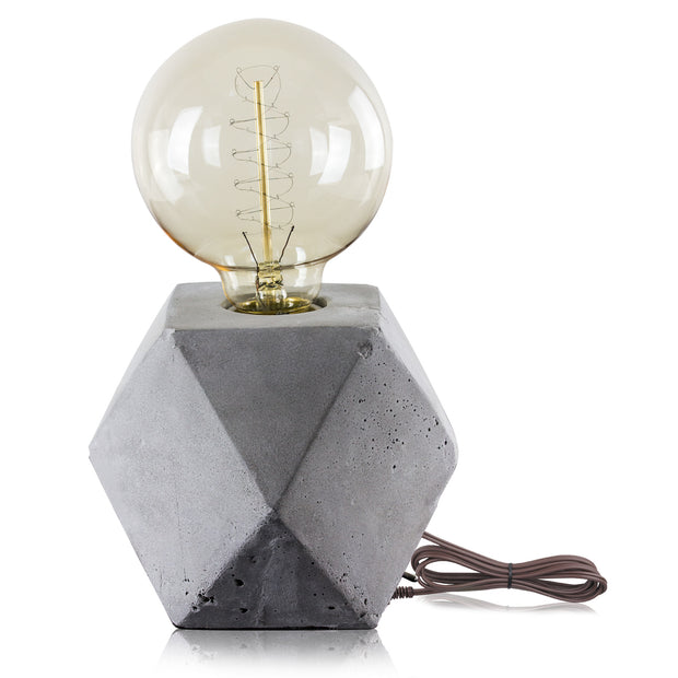 "Industrial Concrete 9"" Hexagon Cement Table Lamp"