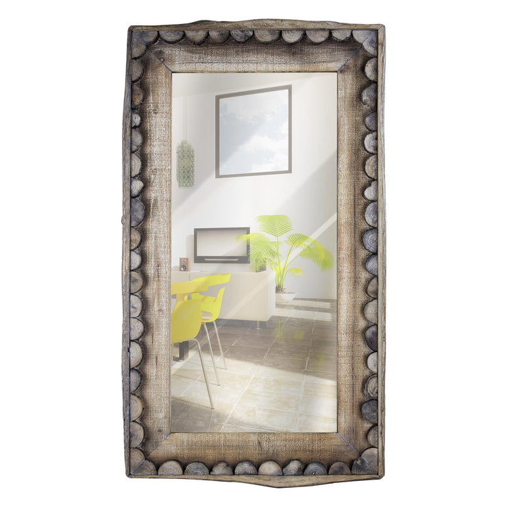 Rustic Scalloped Farmhouse Rectangular Mirror
