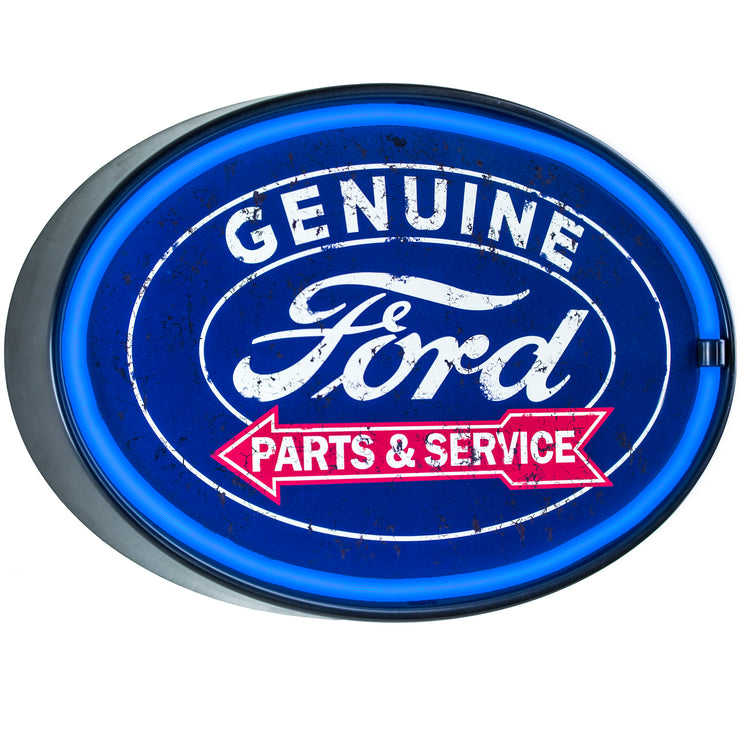 "Officially Licensed Genuine Ford Parts & Service LED Neon Light Sign Wall Decor (10.25"" x 16.25"")"