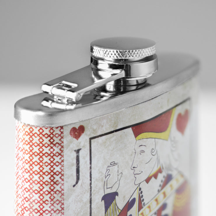 Jack of Hearts Stainless Steel 8 oz Liquor Flask