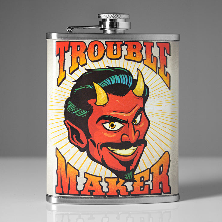 Trouble Maker Stainless Steel 8 oz Liquor Flask