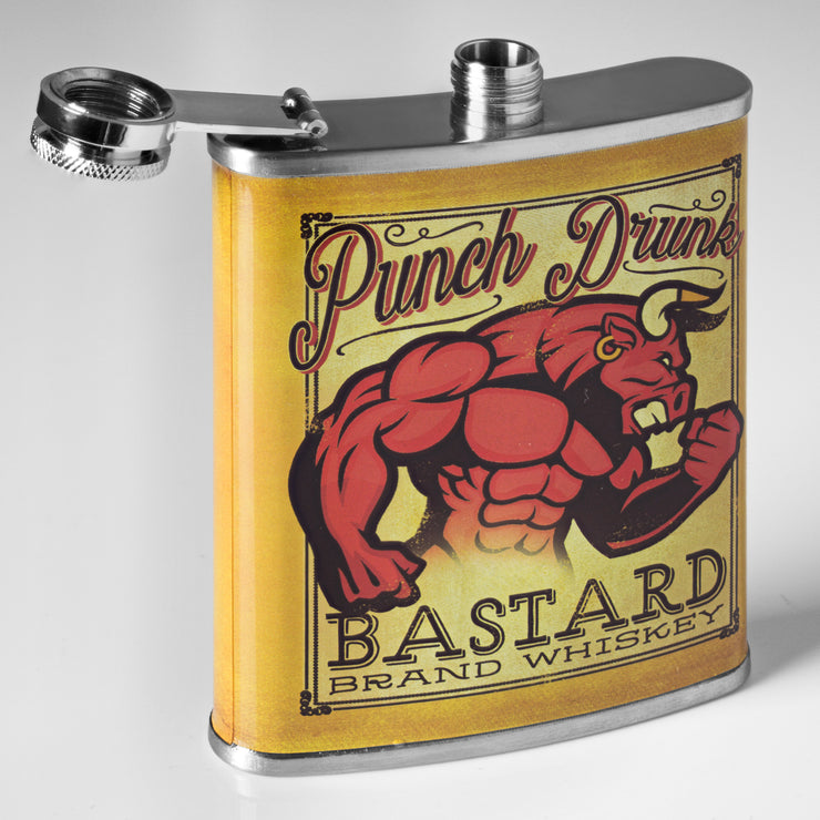 Punch Drunk Bastard Whiskey Stainless Steel 8 oz Liquor Flask