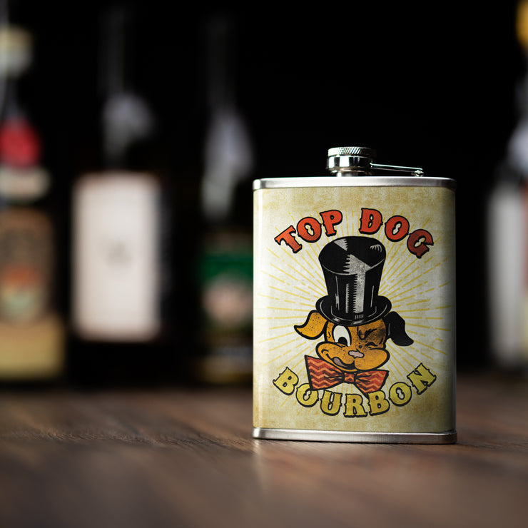 Top Dog Bourbon Stainless Steel 8 oz Liquor Flask