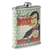 Boss with the Sauce Stainless Steel 8 oz Liquor Flask