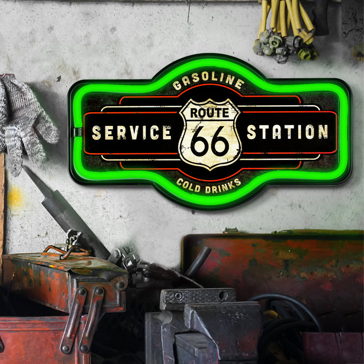 "Vintage Route 66 Service Station LED Neon Light Sign Wall Decor (9.5"" x 17.25"")"