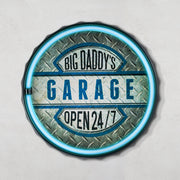 Big Daddy's Garage Open 24/7 Bottle Cap LED Sign