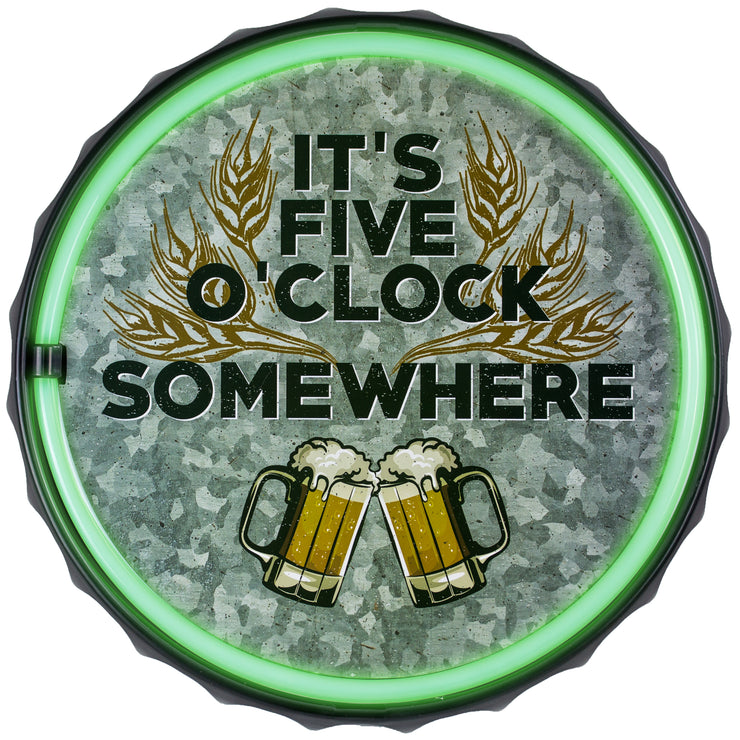 "It's 5 O'clock Somewhere Happy Hour LED Neon Light Sign (12.5"")"