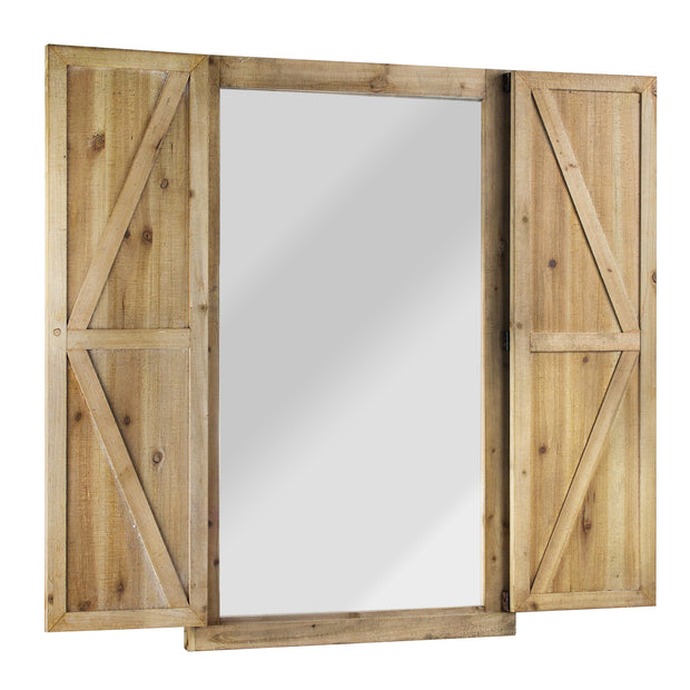 Shuttered Wall Mirror with Wooden Frame