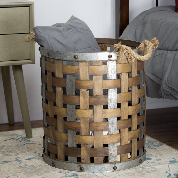 Bamboo Metal Storage Basket - Large