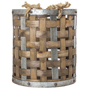 Bamboo Metal Storage Basket - Medium