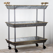 3-Shelf Galvanized Metal Rolling Cart