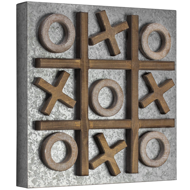 Magnetic Tic Tac Toe Wood Metal Game Board