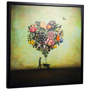 "Big Heart Botany by Duy Huynh Framed Canvas Art 35"" x 35"""