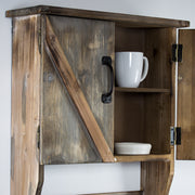 Rustic Hanging Storage Cabinet & Hooks
