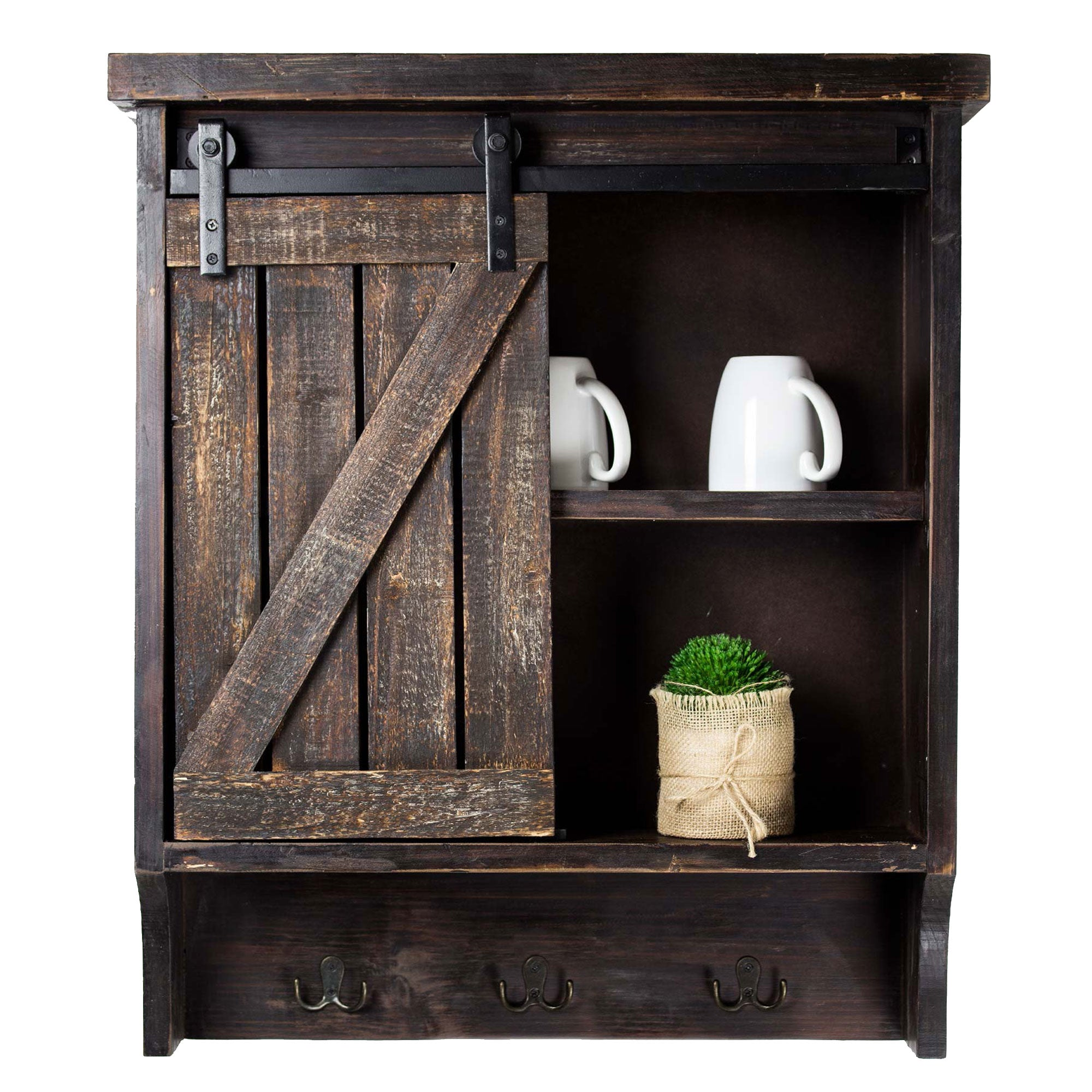 Farmhouse Storage Cabinet Hooks With Rolling Barn Door