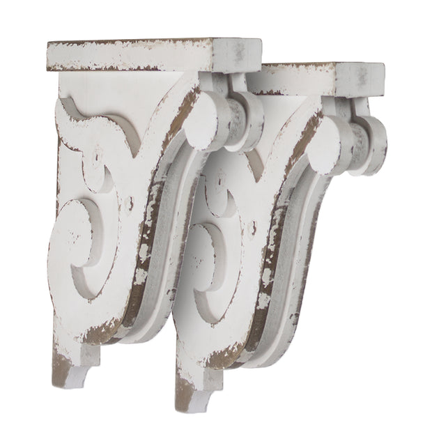 Distressed White Corbel Wood Shelf Brackets (Set of 2)