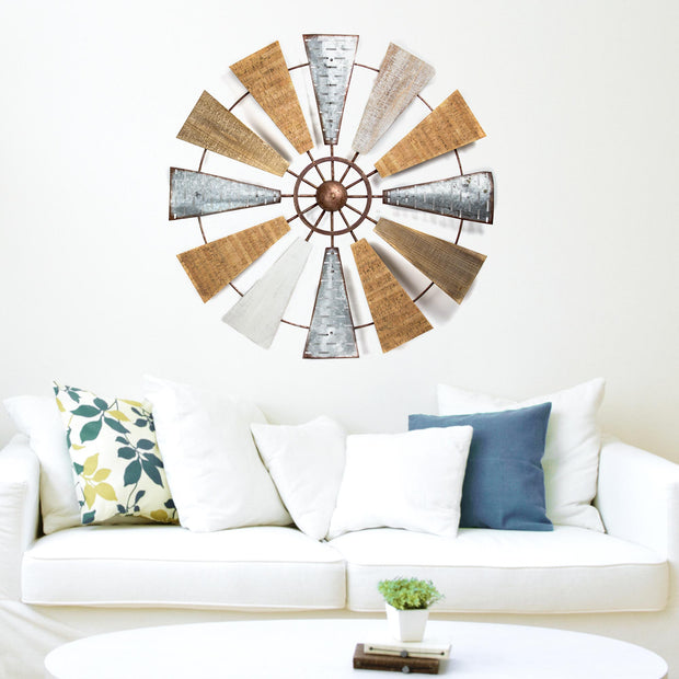 "Wood and Metal Windmill Large 36"" Wall Decor"