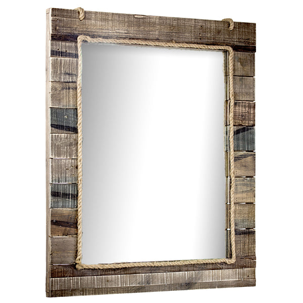 Large Rustic Wood Wall Vanity Mirror with Rope