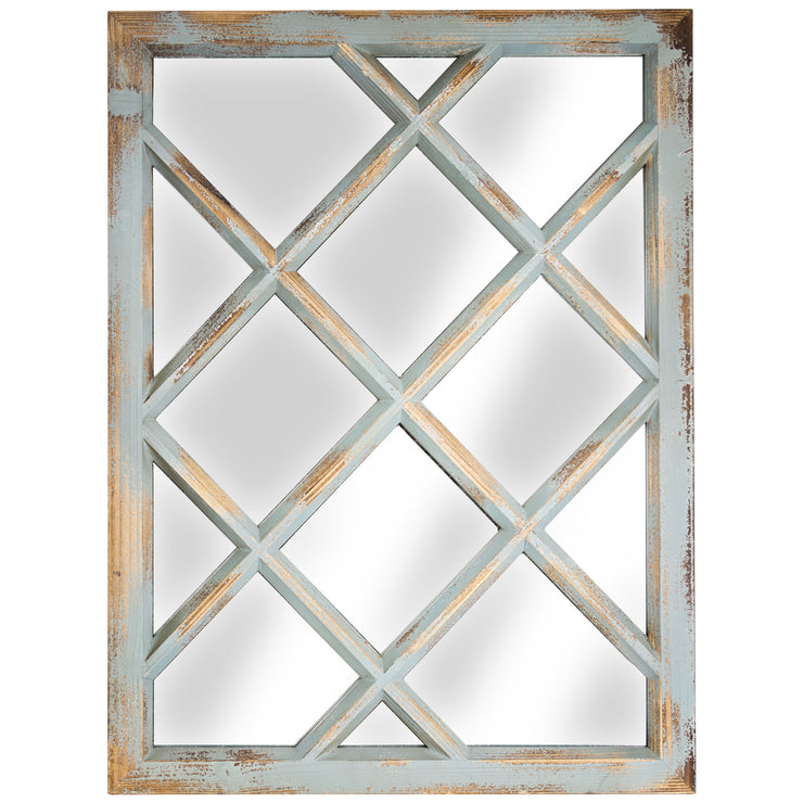 Rustic Shabby Chic Teal Window Pane Wall Vanity Mirror