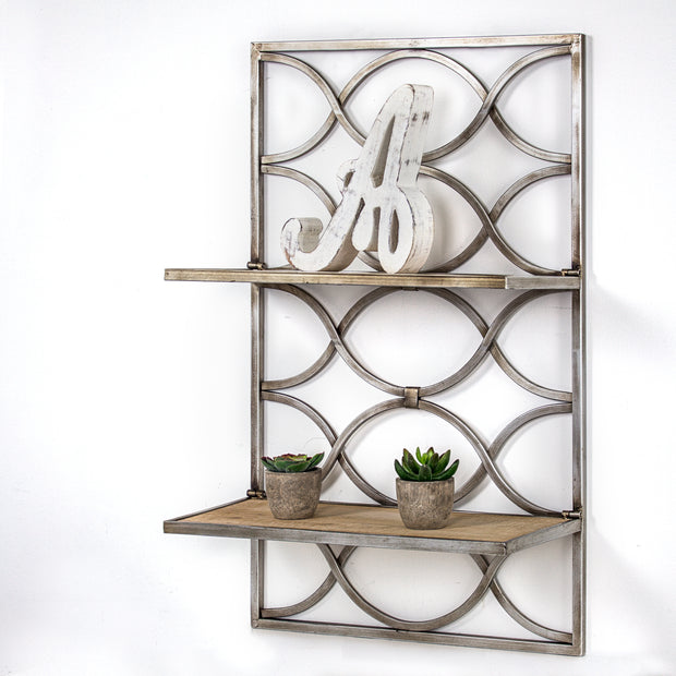 Wood and Metal Hanging Shelf Rack