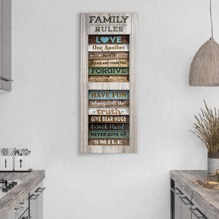 Family Rules Inspirational Shuttered Window Wall Decor