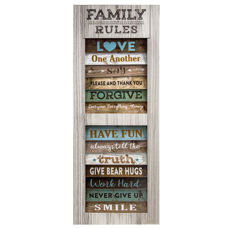 "Family Rules Inspirational Quotes Wall Decor Sign (35"" x 14"")"